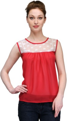 Kami Casual Sleeveless Solid Women,s Red Top