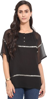 Honey & B Casual Short Sleeve Embellished Women,s Black Top