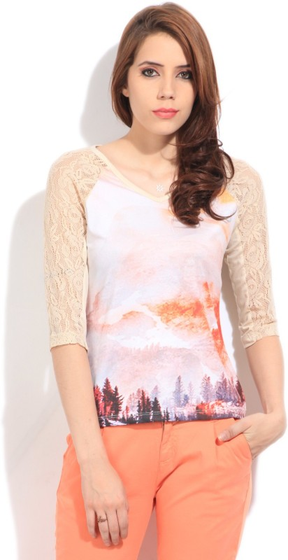 Elle Casual 3/4th Sleeve Printed Women's White Top