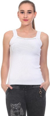 Claude 9 Casual Sleeveless Solid Women's White Top