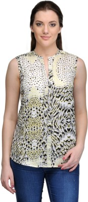 India Inc Casual Sleeveless Printed Women's Yellow Top