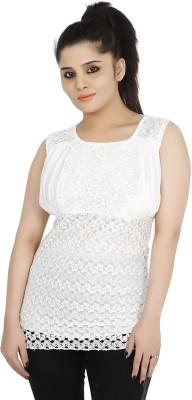 Sringar Casual Sleeveless Solid Women's White Top