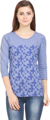 Wear Berry Party 3/4 Sleeve Printed Women's Blue Top