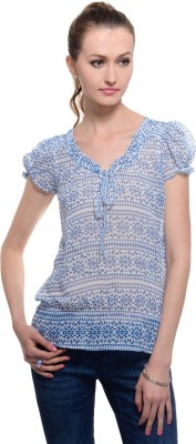 A Luv Ya Casual Short Sleeve Geometric Print Women's Light Blue Top