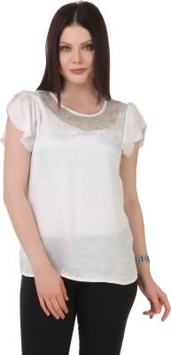 C2 Casual Short Sleeve Solid Women's Beige Top