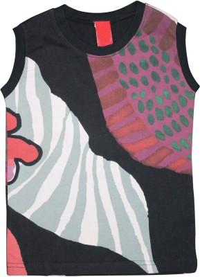 Mankoose Formal Sleeveless Printed Girl's Black, Purple Top