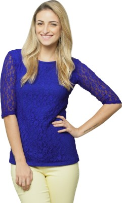 Miss Chase Casual 3/4 Sleeve Solid Womens Blue Top