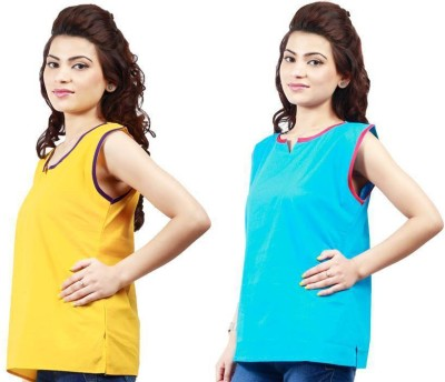 Visach Casual Sleeveless Solid Women's Yellow, Blue Top