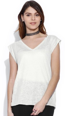 GAS Casual Short Sleeve Solid Women's White Top