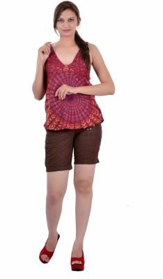Indi Bargain Casual, Formal, Beach Wear, Sports, Festive Sleeveless Floral Print Women's Maroon Top