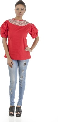Vastra Valley Casual Short Sleeve Self Design Women's Red Top