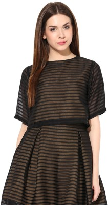 Miss Chase Party Short Sleeve Striped Women's Black Top