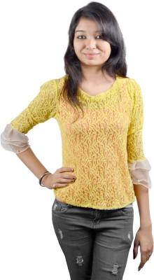 EEIA Casual 3/4 Sleeve Paisley Women's Yellow Top