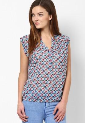 Prakum Casual Sleeveless Printed Women,s Blue Top