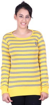 Oner Party, Casual, Sports, Festive Full Sleeve Solid, Striped Women's Gold, Blue Top