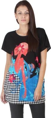 Dora Polis Casual Short Sleeve Printed Women's Black Top