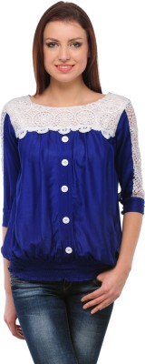 Sheryl Trendz Party 3/4 Sleeve Solid Women's Blue Top
