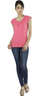 Shilpi Casual Cape Sleeve Solid Women's Pink Top