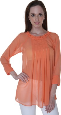 Rigoglioso Formal Full Sleeve Solid Women's Orange Top