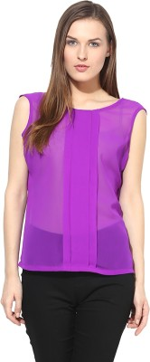 Shakumbhari Casual Sleeveless Solid Women's Purple Top