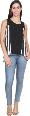 FATEN Casual Sleeveless Striped Women,s Black Top