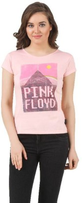 Pink Floyd Casual Short Sleeve Printed Women's Pink Top