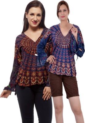 Indi Bargain Casual, Party, Formal, Beach Wear Full Sleeve Printed, Floral Print Women's Dark Blue, Purple Top