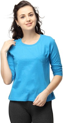 Campus Sutra Casual 3/4 Sleeve Solid Women's Dark Blue Top