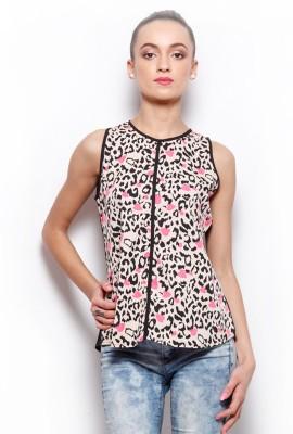 Popnetic Casual Sleeveless Printed Women's Beige Top