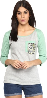AR2 Casual 3/4 Sleeve Solid Women's Grey Top
