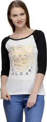 Calgari Casual 3/4 Sleeve Solid Women's White, Black Top
