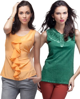Primo Knot Casual Sleeveless Solid Women's Green, Orange Top