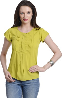 Today Fashion Casual Short Sleeve Solid Women's Yellow Top