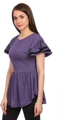 Legona Casual, Party Puff Sleeve Solid Women's Purple, Black Top