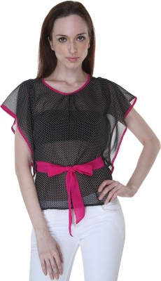 Rigoglioso Casual Butterfly Sleeve Polka Print Women's Black, Pink Top