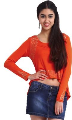 Ira Soleil Casual, Festive, Party Full Sleeve Printed Women's Orange Top