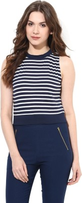 Miss Chase Casual Sleeveless Striped Women's Blue Top