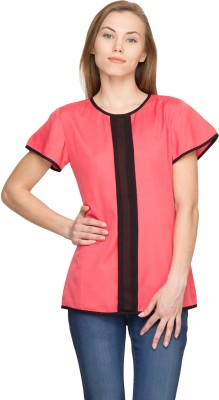 Panit Casual Short Sleeve Solid Women,s Pink Top