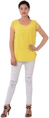 Fashnopolism Casual Sleeveless Solid Women's Yellow Top