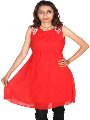 Vanya Enterprises Casual Sleeveless Solid Women's Red, White Top