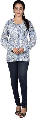 MahisWardrobe Casual Full Sleeve Printed Women's Blue Top