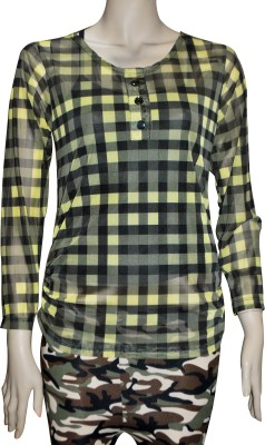 TrendBAE Casual Full Sleeve Checkered Women's Yellow, Black Top