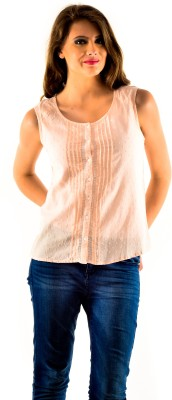 Oshea Casual Sleeveless Embroidered Women,s Pink Top