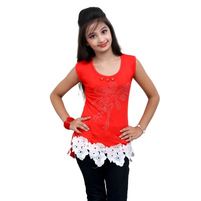 Blinkin Casual Sleeveless Self Design Girl's Pink Top