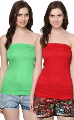Trend18 Casual Sleeveless Solid Women's Green, Red Top