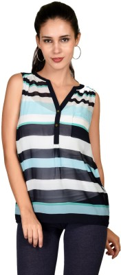 Curvy Q Casual Sleeveless Striped Women's Multicolor Top