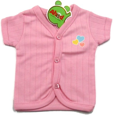 Ahad Casual Short Sleeve Solid Baby Girl's Pink Top