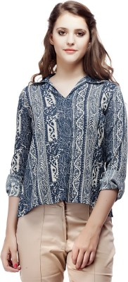 ORIANNE Casual Full Sleeve Floral Print Women's Blue Top