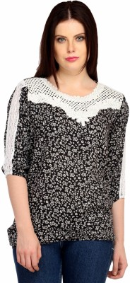 Snoby Casual 3/4 Sleeve Printed Women's Black Top
