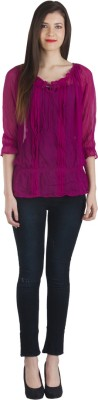 Fashionholic Casual 3/4 Sleeve Solid Women's Maroon Top